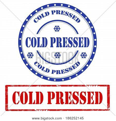 Set of stamps with text Cold Pressed,vector illustration