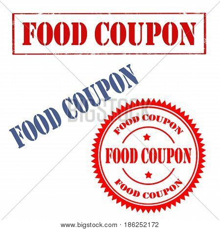Set of stamps with text Food Coupon,vector illustration