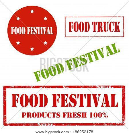 Set of stamps with text Food Festival,vector illustration