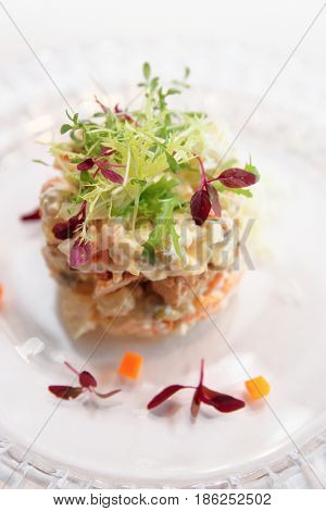 Russian salad cooked in a modern way