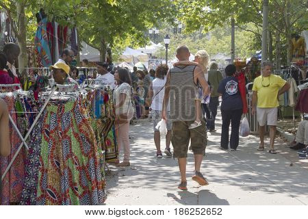 Asheville, North Carolina, USA - September 9, 2016: The 2016 Goombay Festival a three day festival that celebrates the music food and culture of people of African and Caribbean heritage held in downtown Asheville