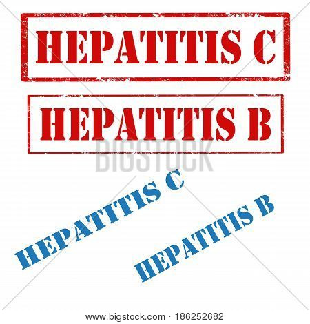 Set of stamps with text Hepatitis,vector illustration