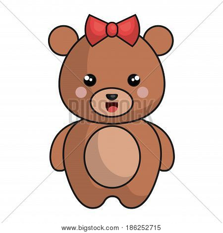 cute and tender female bear kawaii style vector illustration design