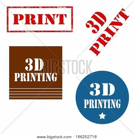 Set of stamps with text 3D Printing,vector illustration