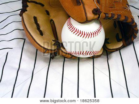 Baseball in a glove.