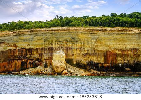 Rock face at Pictured Rocks National Lakeshore on Upper Peninsula, Michigan