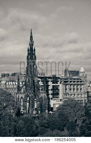 Scott Monument and Edinburgh city view in United Kingdom.