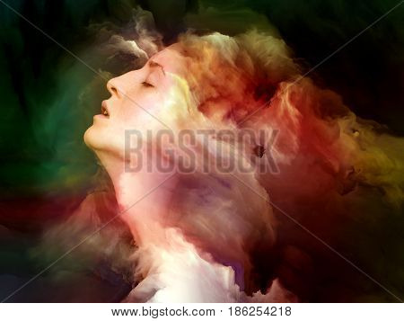 Fusion of female portrait and fractal clouds on the subject of dreaming imagination and mental life.