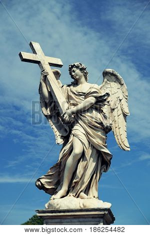 Angel statue from Castel Sant Angelo in Rome, Italy.