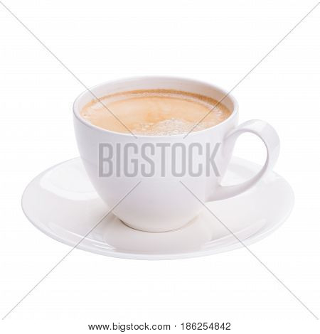 Hot Americano Coffee In White Glass On White Background