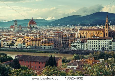 Florence Cathedral with city skyline viewed from mountain top