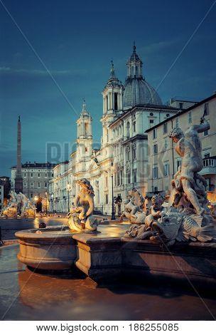 Fountain of Neptune in Piazza Navona in Rome, Italy.