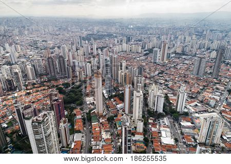 Skyline of buildings from Tatuape neighbourhood located in Sao Paulo, Brazil