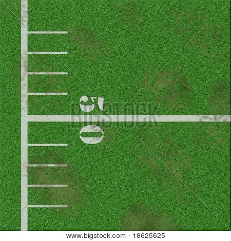 Illustration of 50 yard line on a football field.