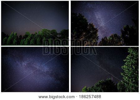 Collage The Milky Way is our galaxy. This long exposure astronomical photograph of the nebula.