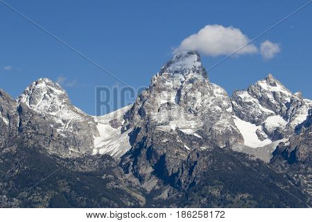 Grand Teton, Mount Owen And Glaciers In The Valleys