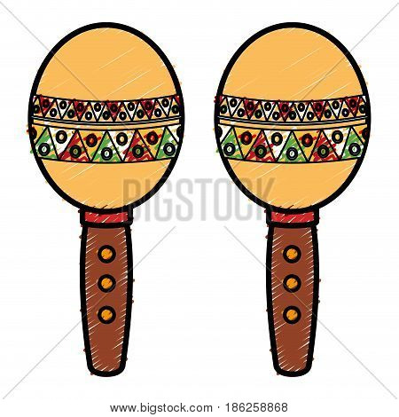 mexican maracas isolated icon vector illustration design