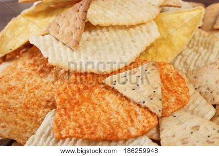 Heap Of Salted Potato Crisps And Cookies, Concept Of Unhealthy Food