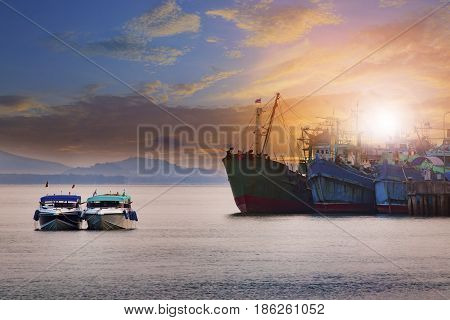 beautiful sun rising sky ranong port andaman sea southern of thailand most popular traveling destination