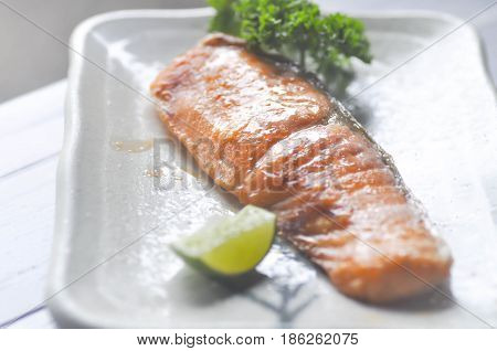 grilled salmon dish in Japanese style , roasted salmon