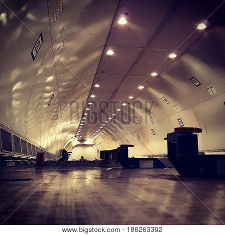 Atmosphere inside an empty cargo airplane compartment.