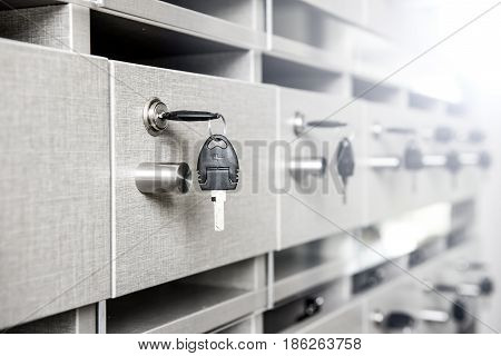 Key with private mailbox at the condo poster