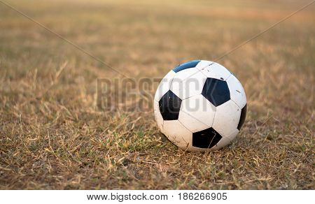 Close up of soccer ball on the grass.
