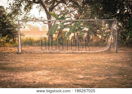 vintage photo of Soccer Goal or Football Goal