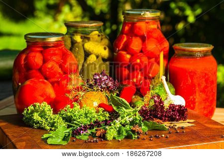 Still Life From Marinated And Fresh Vegetables