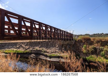 Upper Newport Bay Nature Preserve hiking trail winds along the marsh where you will see wildlife in Newport Beach California USA