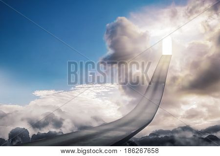 Gate of life OR The path to heaven Imaginative concept. Use Islamic arches and path way