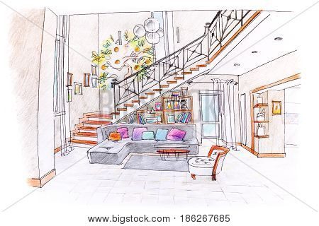 Colored Drawing Of Modern Room Design. Blueprint Of Living Room With Furniture.