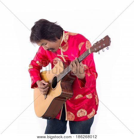Chinese man musicain playing guitar isolated on white background.