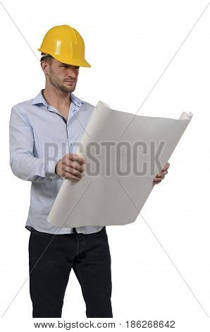 Man construction worker holding a set of blueprints