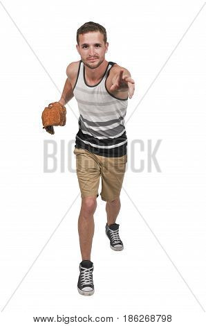 Man baseball pitcher getting ready to throw a ball in a game