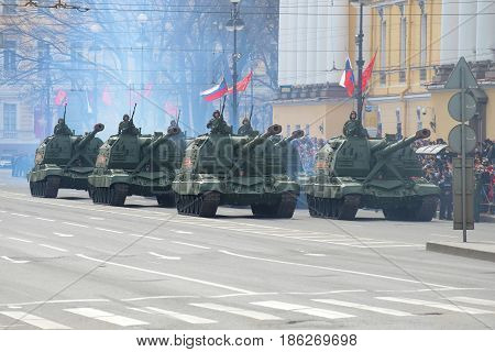 SAINT-PETERSBURG, RUSSIA - MAY 09, 2017: Column of self-propelled artillery installations