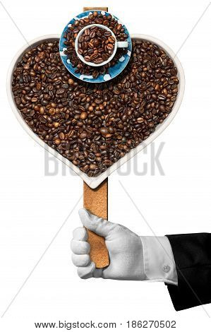 Love Coffee - Hand of a waiter holding a symbol with roasted coffee beans in the shape of a heart with a coffee cup. Isolated on white background