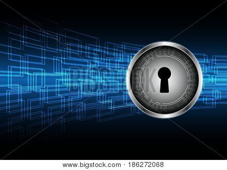Cyber Security Keyhole Lock Circle