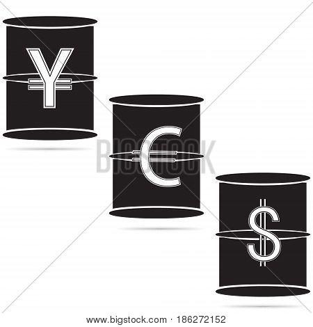 Vector illustration of oil barrels on a white background. Dollar euro yen