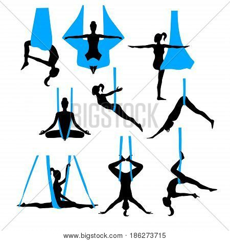 Aero yoga silhouettes. Black and white icons. Women performing asanas in a hanging hammock. Logo design. Vector illustration.
