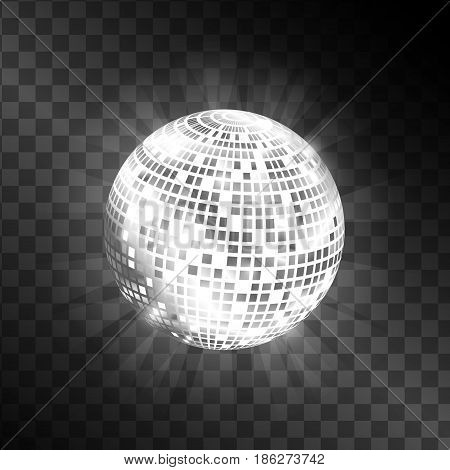Disco ball isolated on transparent background. Shiny circle sphere for disco illustrations. Black and white color. Vector image.