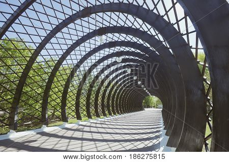 Covered gallery-berso (tunnel) before pedestrian Pushkin (Andreevsky) bridge in Moscow