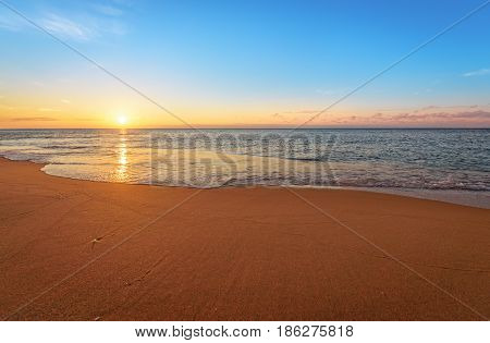 Beautiful sea in the morning. Golden sands.