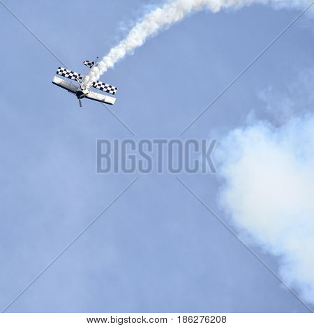 Albion Park Australia - May 6 2017. Paul Bennet aerobatic display in his Wolf Pitts Pro. Wings Over Illawarra is an annual air show held at Illawarra Regional Airport.