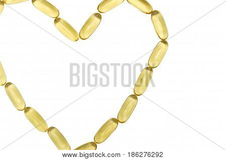 Capsules Of Heart Shaped Fish Oil Isolated On White Background