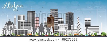 Abidjan Skyline with Gray Buildings and Blue Sky. Business Travel and Tourism Concept with Modern Architecture. Image for Presentation Banner Placard and Web Site.