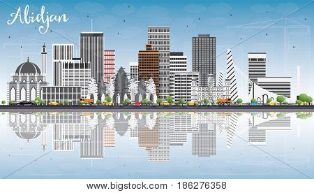 Abidjan Skyline with Gray Buildings, Blue Sky and Reflections. Business Travel and Tourism Concept with Modern Architecture. Image for Presentation Banner Placard and Web Site.