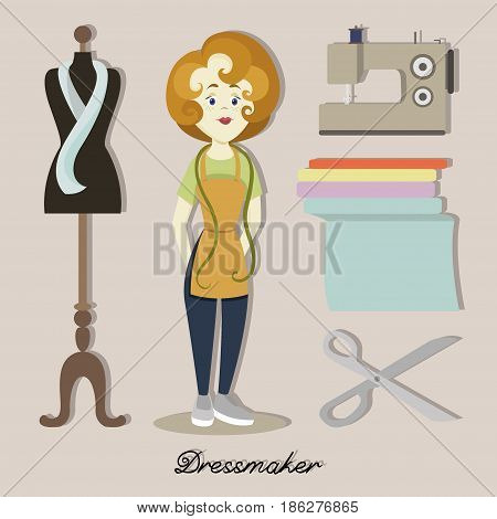 Tailor or dressmaker designer atelier woman in dress tailoring salon