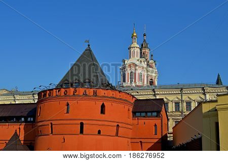 A beautiful and magnificent view of the Kremlin towers and churches is on the territory of the capital city, many guests and friends come to the city and are amazed by the architecture of past centuries