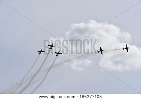 Albion Park Australia - May 6 2017. Display of Russian Roolettes Formation Team. Wings Over Illawarra is an annual air show held at Illawarra Regional Airport.